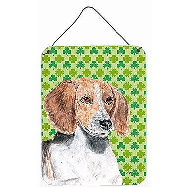 East Urban Home St. Patrick's Day Shamrock Print on Plaque; English Foxhound