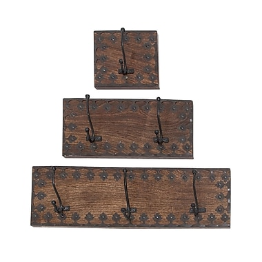 Union Rustic 3 Piece Wood/Metal Wall Hook Set
