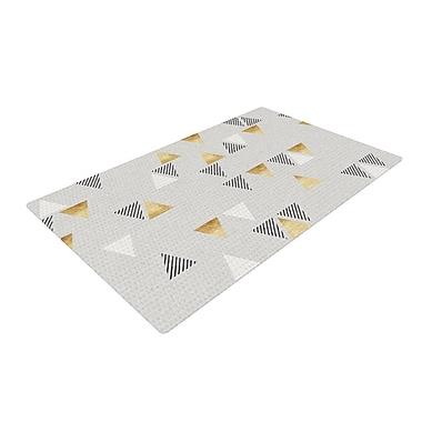 East Urban Home Nick Atkinson Triangle Love Gray/Gold Area Rug; 2' x 3'