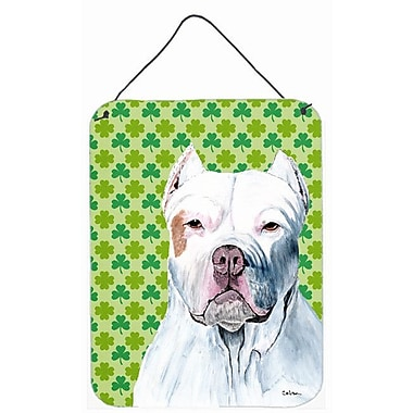 East Urban Home St. Patrick's Day Shamrock Print on Plaque; Pit Bull