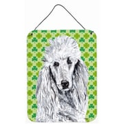 East Urban Home St. Patrick's Day Shamrock Print on Plaque; White Standard Poodle