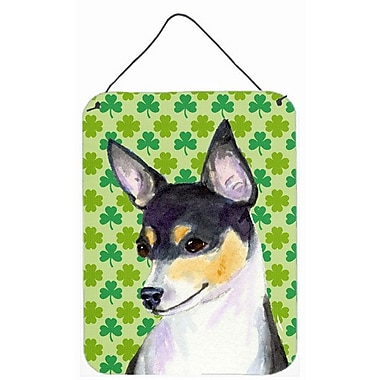 East Urban Home St. Patrick's Day Shamrock Print on Plaque; Chihuahua (Black)