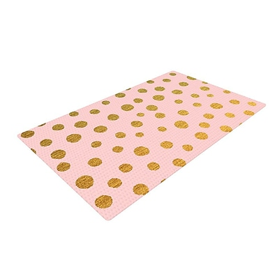 East Urban Home Nika Martinez Golden Dots and Pink Blush Area Rug; 4' x 6'