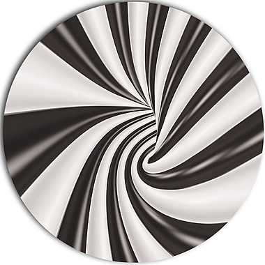 DesignArt 'Fractal 3D Black N White Tunnel' Graphic Art Print on Metal; 11'' H x 11'' W x 1'' D