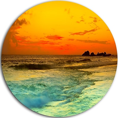 DesignArt 'Yellow Sunset Over Sea' Photographic Print on Metal; 23'' H x 23'' W x 1'' D