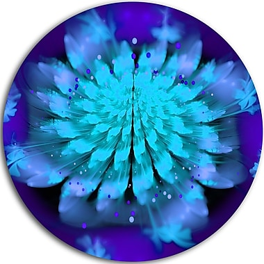DesignArt 'Fractal Blue Spread-out Flower' Graphic Art Print on Metal; 11'' H x 11'' W x 1'' D
