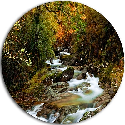 DesignArt 'Flowing River in Autumn' Photographic Print on Metal; 23'' H x 23'' W x 1'' D