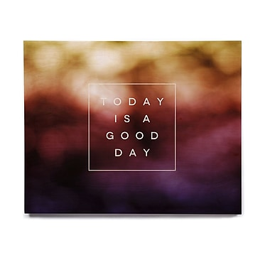 East Urban Home Rainbow 'Good Day' Textual Art on Wood; 11'' H x 14'' W x 1'' D