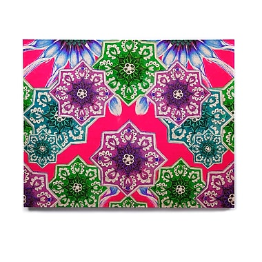 East Urban Home Floral 'Flower Power in Red' Graphic Art Print on Wood; 11'' H x 14'' W x 1'' D