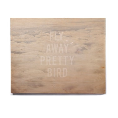East Urban Home 'Fly Away Pretty Bird' Graphic Art Print on Wood; 8'' H x 10'' W x 1'' D
