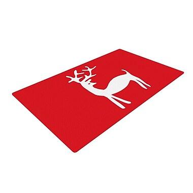 East Urban Home Miranda Mol Reindeer Holiday Red Area Rug; 2' x 3'