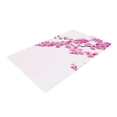 East Urban Home Monika Strigel Cherry Sakura Floral Pink Area Rug; 4' x 6'