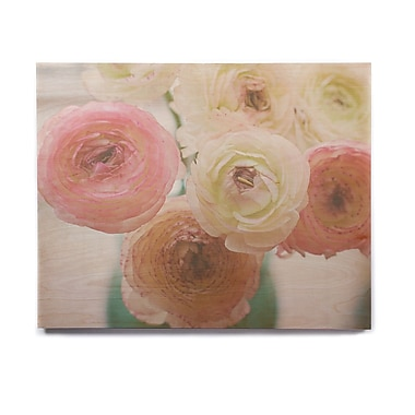 East Urban Home 'Pastel Ranunculus' Graphic Art Print on Wood; 8'' H x 10'' W x 1'' D