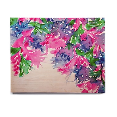 East Urban Home 'Floral Cascade 1' Graphic Art Print on Wood