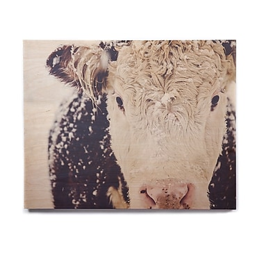 East Urban Home 'Snowy Cow' Graphic Art Print on Wood; 8'' H x 10'' W x 1'' D