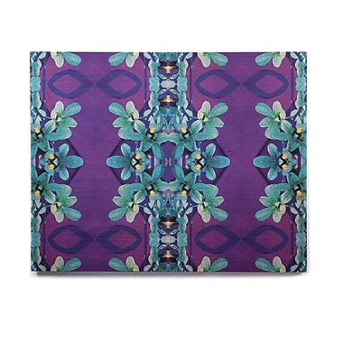 East Urban Home Floral 'Blue Orchids' Graphic Art Print on Wood; 11'' H x 14'' W x 1'' D