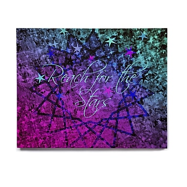 East Urban Home 'Reach For The Stars' Graphic Art Print on Wood; 16'' H x 20'' W x 1'' D