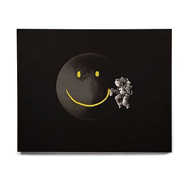 East Urban Home 'Make A Smile' Graphic Art Print on Wood; 11'' H x 14'' W x 1'' D