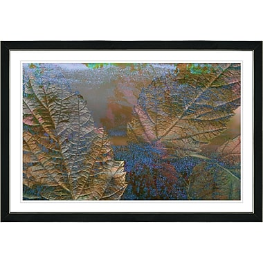 Latitude Run 'Copper Moss Abstract Autumn' Framed Acrylic Painting Print on Paper; Black