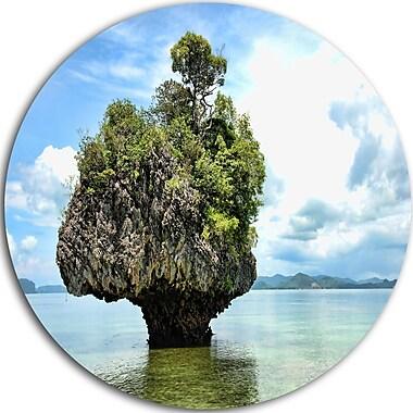 DesignArt 'Tree Island in Summer' Photographic Print on Metal; 11'' H x 11'' W x 1'' D