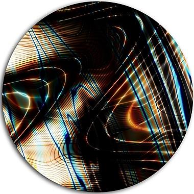 DesignArt 'Fractal Curved Brown Black Stripes' Graphic Art Print on Metal; 23'' H x 23'' W x 1'' D