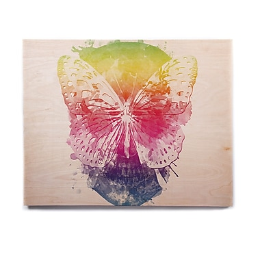East Urban Home Rainbow 'Butterfly Skull' Graphic Art Print on Wood; 11'' H x 14'' W x 1'' D