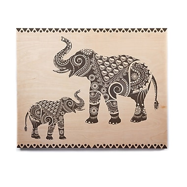 East Urban Home 'Ornate Indian Elephant-Boho' Graphic Art Print on Wood; 16'' H x 20'' W x 1'' D