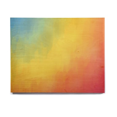East Urban Home Rainbow 'Watercolor Layers' Painting Print on Wood; 8'' H x 10'' W x 1'' D
