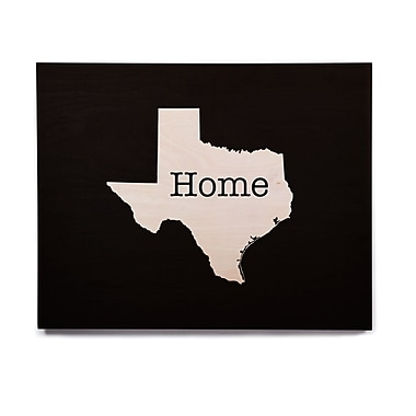 East Urban Home 'Texas State Outline' Graphic Art Print on Wood; 20'' H x 24'' W x 1'' D