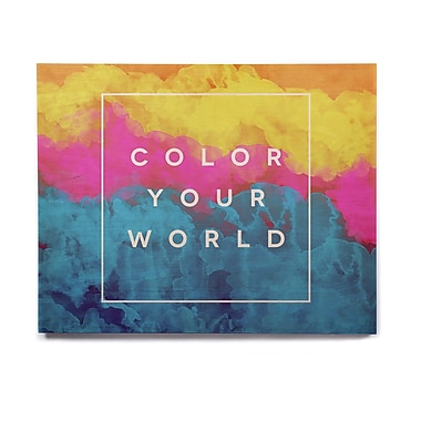 East Urban Home Rainbow 'Color Your World' Textual Art on Wood; 16'' H x 20'' W x 1'' D