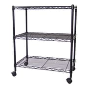 Excel Multi-Purpose 3-Tier Wire Shelving Unit w/ Casters, 24 In. X 14 In. X 28 In., Black