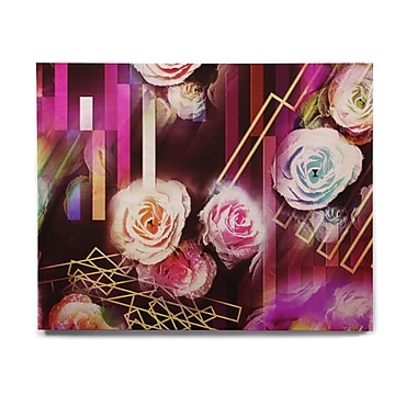 East Urban Home 'Roses-Floral Geometric Stripes ' Graphic Art Print on Wood