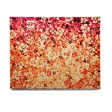 East Urban Home Floral 'Flower Power in Orange' Graphic Art Print on Wood