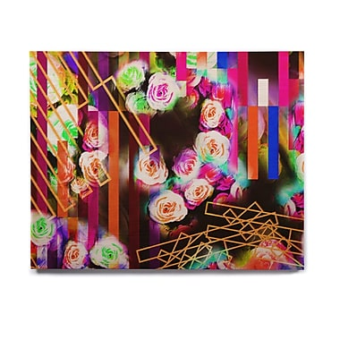 East Urban Home 'Colorful Rose-Floral Geometric' Graphic Art Print on Wood; 16'' H x 20'' W x 1'' D
