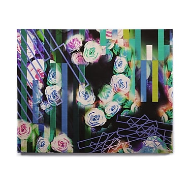 East Urban Home 'Cool Roses-Floral Stripes ' Graphic Art Print on Wood; 11'' H x 14'' W x 1'' D