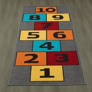 Ottomanson Children's Garden Educational Hopscotch Children Nursery Floor Mat; Gray