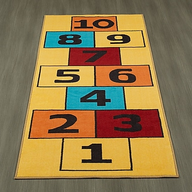 Ottomanson Children's Garden Educational Hopscotch Children Nursery Floor Mat; Yellow