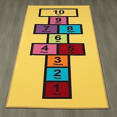 Ottomanson Children's Garden Educational Hopscotch Nursery Floor Mat; Yellow