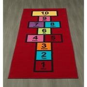 Ottomanson Children's Garden Educational Hopscotch Nursery Floor Mat; Red