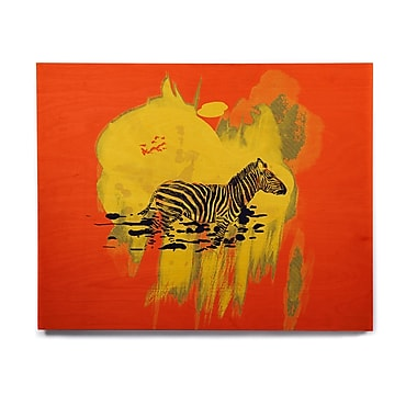 East Urban Home Zebra 'Watercolored Red' Graphic Art Print on Wood; 8'' H x 10'' W x 1'' D