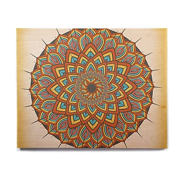 East Urban Home Geometric 'Floral Mandala' Graphic Art Print on Wood; 16'' H x 20'' W x 1'' D