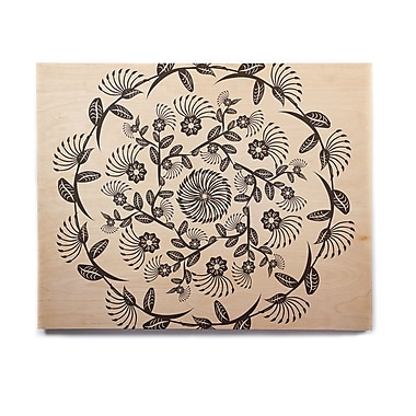 East Urban Home Geometric 'Black & White Decorative Mandala' Graphic Art Print on Wood