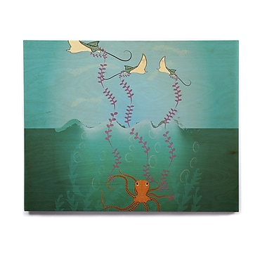 East Urban Home 'Octopus Flying Manta Rays' Graphic Art Print on Wood