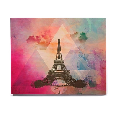 East Urban Home France 'Eiffel Tower (Deep Pink)' Graphic Art Print on Wood
