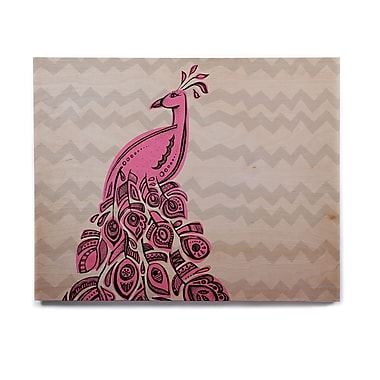 East Urban Home 'Peacock Pink' Graphic Art Print on Wood; 8'' H x 10'' W x 1'' D