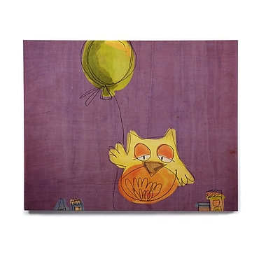 East Urban Home 'Owl Balloon' Graphic Art Print on Wood; 8'' H x 10'' W x 1'' D