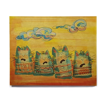 East Urban Home 'Singing Cats' Graphic Art Print on Wood