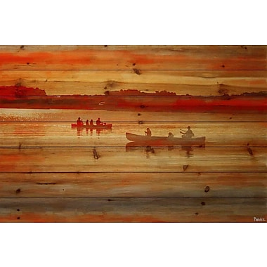 Loon Peak 'Lake Lavielle' Painting Print on Natural Pine Wood; 24'' H x 36'' W x 1.5'' D