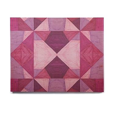 East Urban Home Geometric 'Purple Angles' Graphic Art Print on Wood; 11'' H x 14'' W x 1'' D
