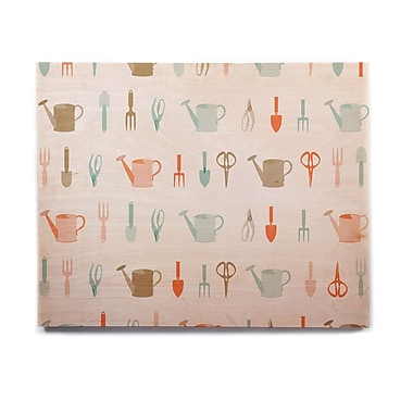East Urban Home Abstract 'Gardening Tools Pattern' Graphic Art Print on Wood
